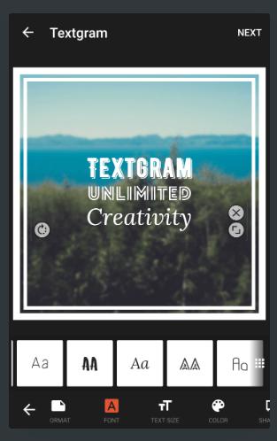 Textgram для редактирования фото и текстов